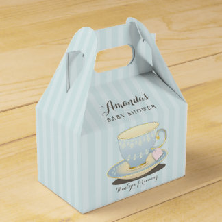 Chic Teacup in Blue Baby Shower Gable Favor Box Wedding Favour Boxes