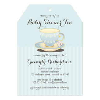 Chic Teacup in Blue Baby Shower Tea Party 13 Cm X 18 Cm Invitation Card