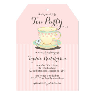 Chic Teacup on Pink Birthday Tea Party 13 Cm X 18 Cm Invitation Card