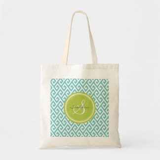 Chic teal abstract geometric pattern monogram budget tote bag
