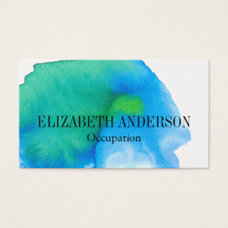 Chic Teal and Blue Hand Painted Watercolor Effect