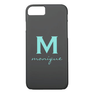 Chic Teal and Gray Monogram Phone Case - Mod Style
