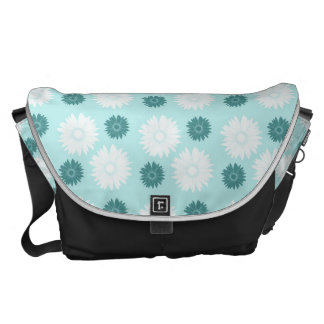 Chic Teal and White Flowers Courier Bag