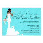 Chic Teal Black Coral Damask Here Comes the Bride Custom Invitations