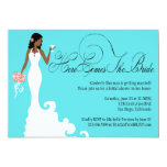 "Chic Teal Black Coral Here Comes the Bride 5"" X 7"" Invitation Card"