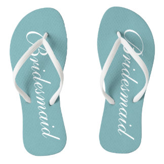Chic teal blue bridesmaid beach wedding flip flops thongs