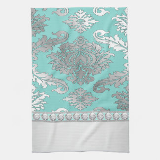 Chic Teal Blue Damask Kitchen Towels