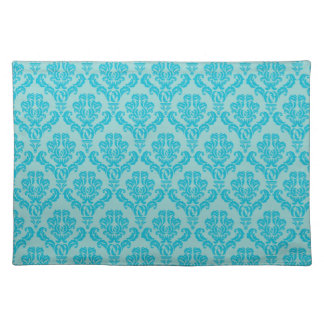 Chic Teal Damask Pattern Placemat