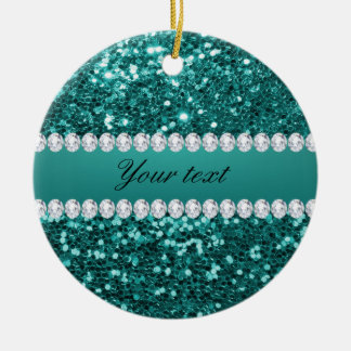 Chic Teal Faux Glitter and Diamonds Ceramic Ornament