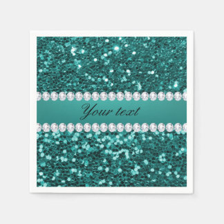 Chic Teal Faux Glitter and Diamonds Disposable Napkin
