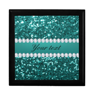 Chic Teal Faux Glitter and Diamonds Gift Box