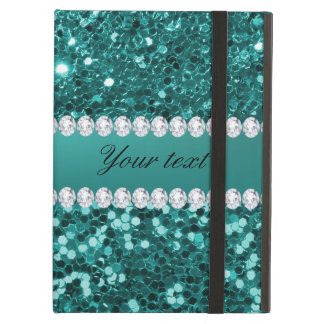 Chic Teal Faux Glitter and Diamonds iPad Air Cover