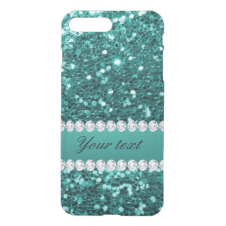 Chic Teal Faux Glitter and Diamonds iPhone 8 Plus/7 Plus Case