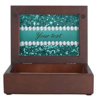 Chic Teal Faux Glitter and Diamonds Keepsake Box