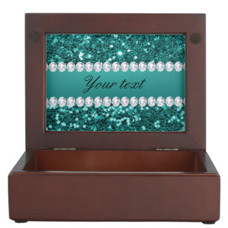 Chic Teal Faux Glitter and Diamonds Memory Box