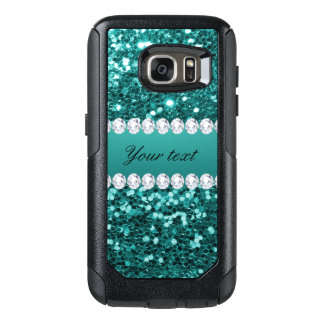 Chic Teal Faux Glitter and Diamonds OtterBox Samsung Galaxy S7 Case