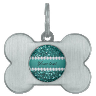 Chic Teal Faux Glitter and Diamonds Pet ID Tag