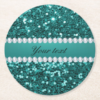 Chic Teal Faux Glitter and Diamonds Round Paper Coaster