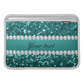 Chic Teal Faux Glitter and Diamonds Sleeve For MacBook Air