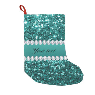 Chic Teal Faux Glitter and Diamonds Small Christmas Stocking