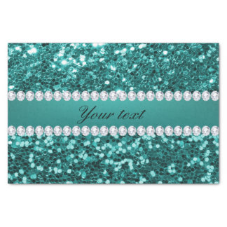 Chic Teal Faux Glitter and Diamonds Tissue Paper