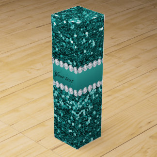 Chic Teal Faux Glitter and Diamonds Wine Box
