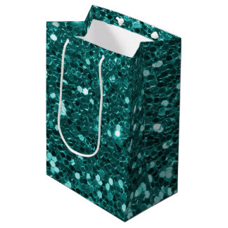 Chic Teal Faux Glitter Medium Gift Bag