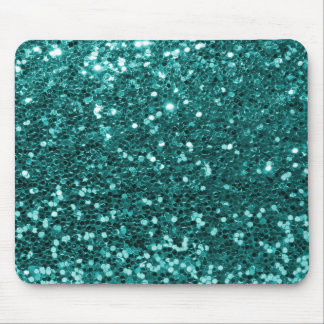 Chic Teal Faux Glitter Mouse Pad
