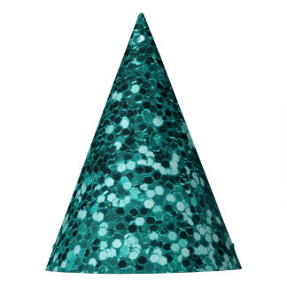 Chic Teal Faux Glitter Party Hat