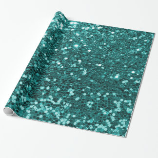 Chic Teal Faux Glitter Wrapping Paper