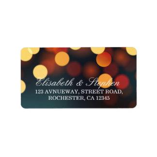 Chic Teal Gold Bokeh Glitter String Lights Wedding Address Label