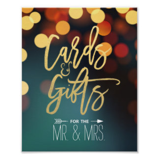 Chic Teal Gold Bokeh Lights Cards & Gifts Wedding Poster
