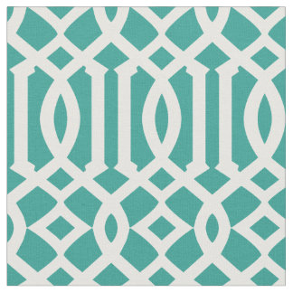 Chic Teal Green and White Trellis Lattice Pattern Fabric
