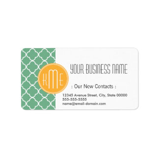 Chic Teal Green Quatrefoil with Yellow Monogram Address Label