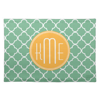 Chic Teal Green Quatrefoil with Yellow Monogram Placemats