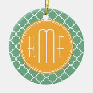 Chic Teal Green Quatrefoil with Yellow Monogram Round Ceramic Decoration