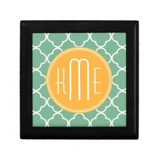 Chic Teal Green Quatrefoil with Yellow Monogram Small Square Gift Box