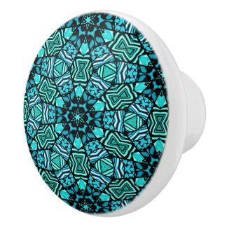 Chic Teal Turquoise Retro Oriental Mosaic Pattern Ceramic Knob