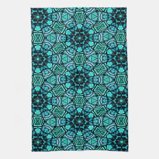 Chic Teal Turquoise Retro Oriental Mosaic Pattern Tea Towel