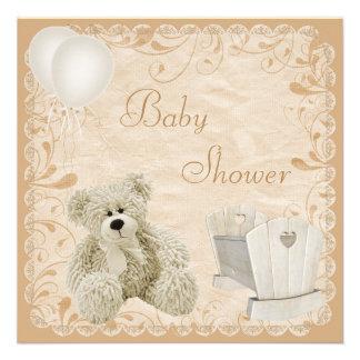 Chic Teddy & Crib Neutral Baby Shower Custom Announcement