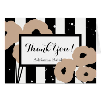CHIC THANK YOU NOTE_ HAZELNUT POPPIES ON STRIPES CARD