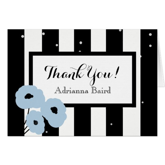 CHIC THANK YOU NOTE_MOD BLUE POPPIES & STRIPES CARD