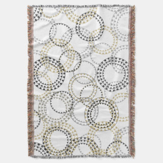 CHIC THROW_BLACK/GREY/GOLD ABSTRACT CIRCLES THROW BLANKET