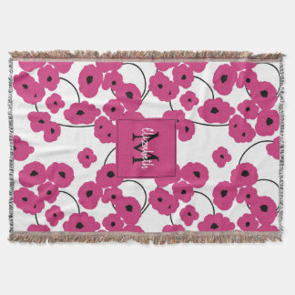 CHIC THROW_BOLD FLORAL HOT PINK THROW BLANKET