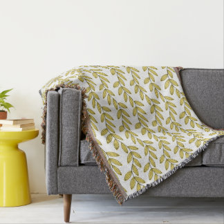 CHIC THROW_BUTTER YELLOW FLORAL VINES
