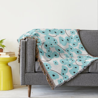 CHIC THROW_MOD AQUA & BLACK POPPIES THROW BLANKET