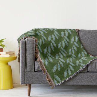 CHIC THROW_SEAFOAM FLORAL VINES ON GREEN