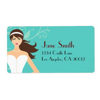 Chic Tiffany Blue Bridal Shower [Brunette Bride] Shipping Label