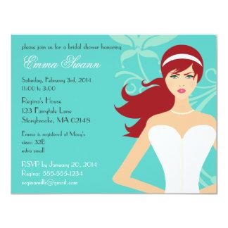 Chic Tiffany Blue Bridal Shower [Redhead Bride] Card
