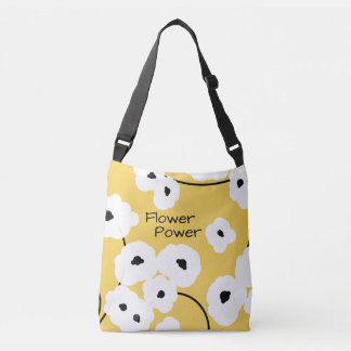 CHIC TOTE/BAG_COOL WHITE & BLACK POPPIES CROSSBODY BAG